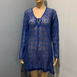 Medium blue lace cover up